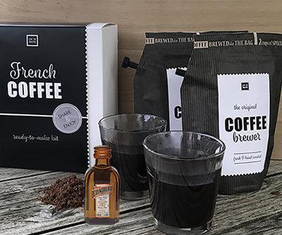 French coffee gift set, inclusief 2 glazen