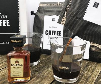Italian coffee gift set, inclusief 2 glazen